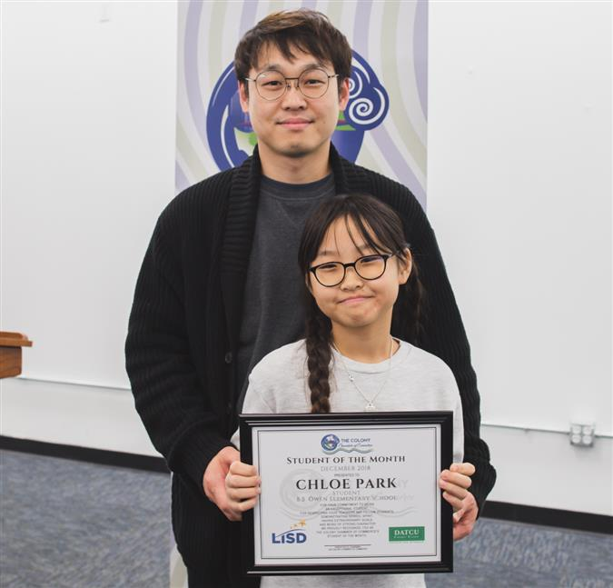 B.B. Owen Elementary's Chloe Park Named The Colony Chamber of Commerce/DATCU Credit Union December Student of the Month