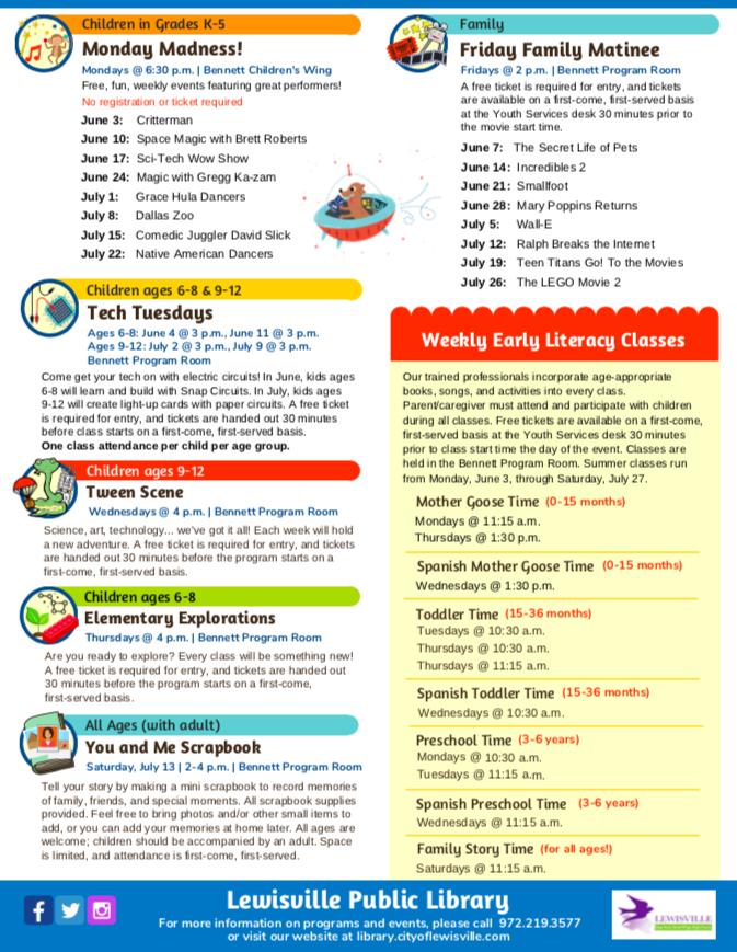 Lewisville Public Library Summer Reading Program-Free!