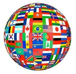 Globe of country flags