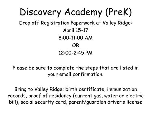 Discovery Academy Registration