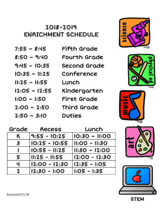 Wellington Lunch and Recess Schedule