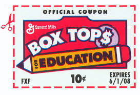 NOW UNTIL 2/22 - Box Tops COLLECTION GOING ON NOW =) for Education: Every 50 labels earns $5 for ACMS