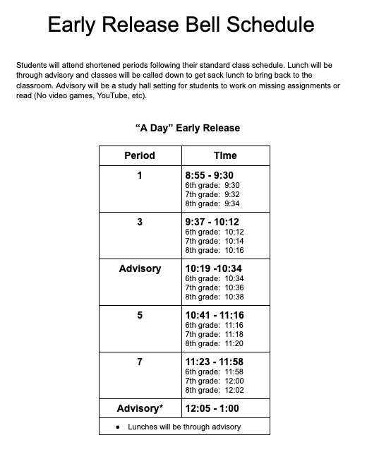 March 12th Early Release Bell Schedule
