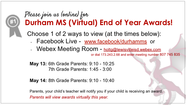 End of Year Award Ceremonies Information