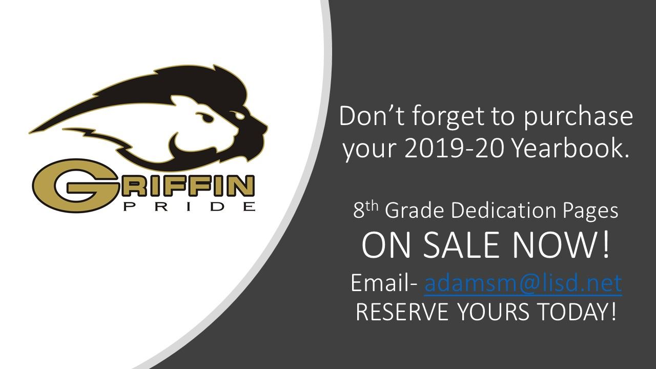 8th Grade Dedication Page-Ads ON SALE NOW!
