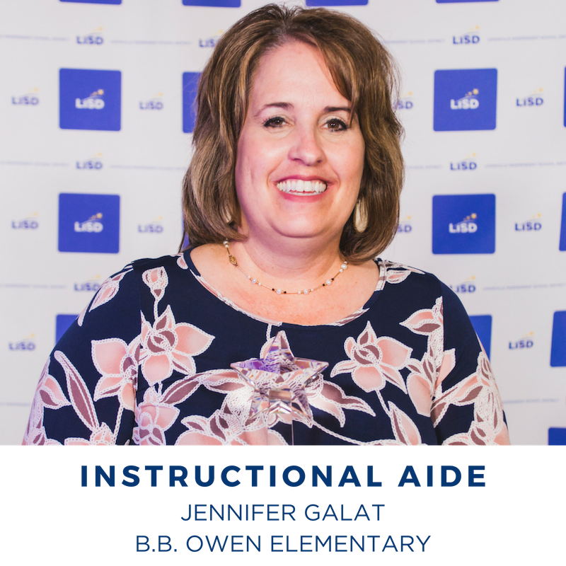 2019 INSTRUCTIONAL AIDE JENNIFER GALAT B.B. OWEN ELEMENTARY