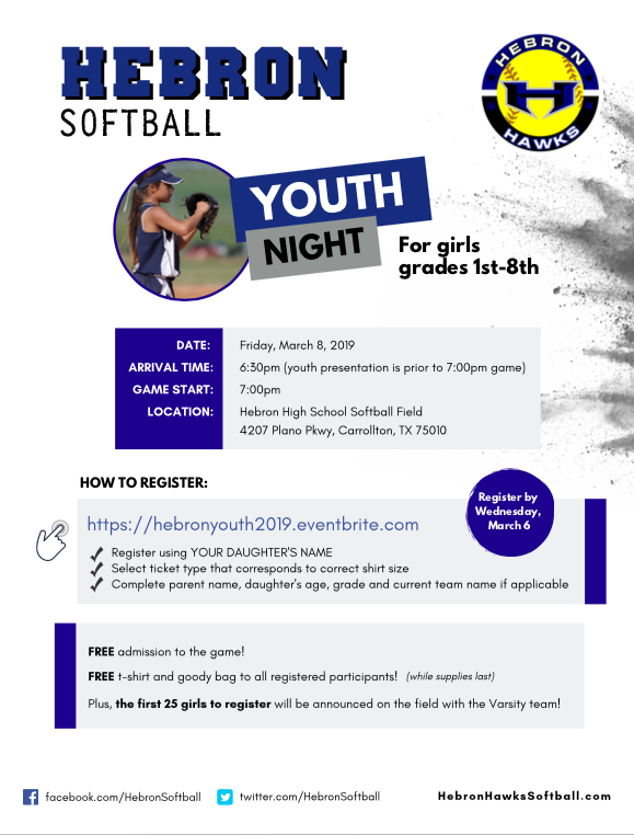 Hebron Softball Youth Night Friday March 8th