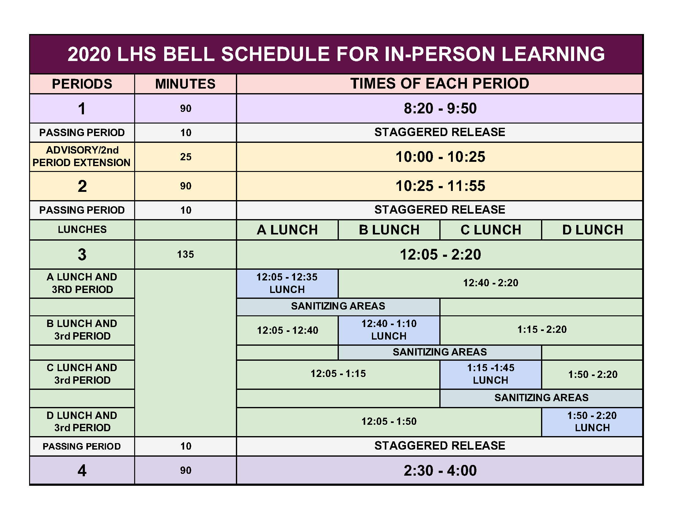 BELL SCHEDULE/IN-PERSON LEARNING 2020-21