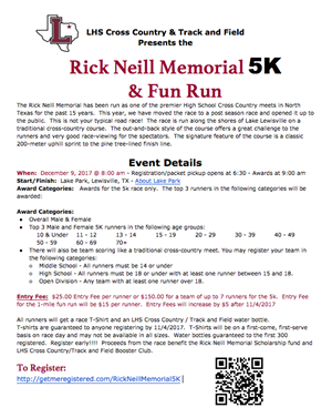 SIGN UP FOR THE RICK NEILL MEMORIAL FUN RUN!