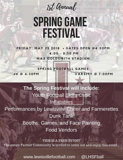 FOOTBALL SPRING GAME AND FESTIVAL!