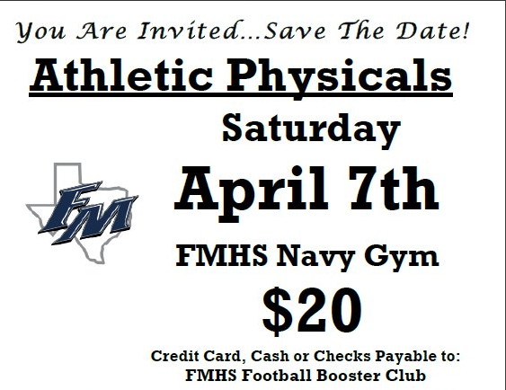 Athletic Physicals for 2018/2019 School Year