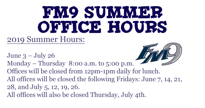 FM9 Summer Hours