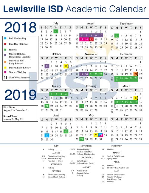 LISD Approves 2018 2019 Calendar