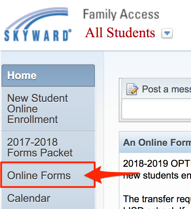 Family Access to Online Forms