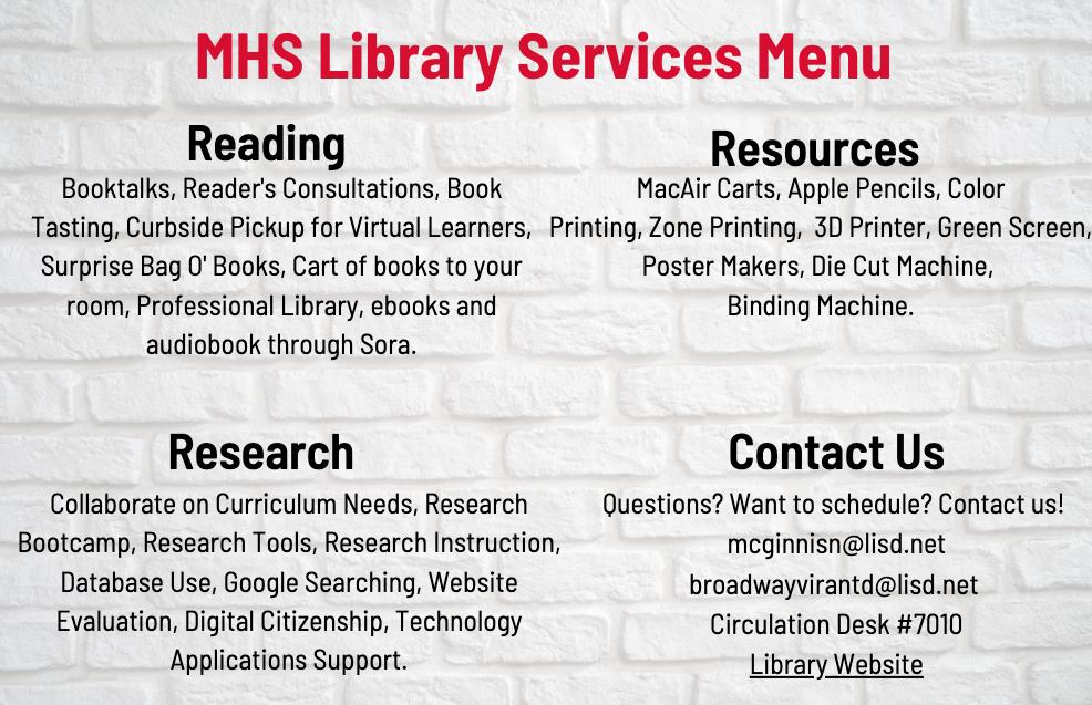 Library Services Menu